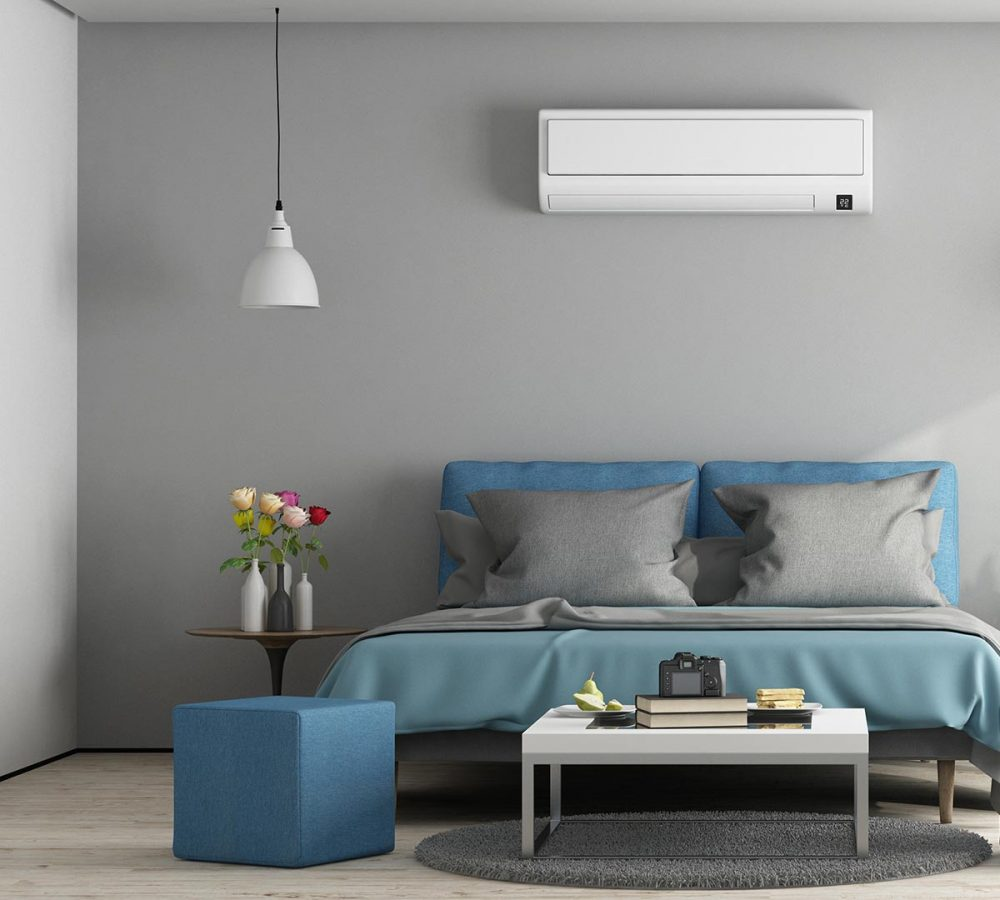 Gray and blue modern master bedroom with furniture and air conditioner - 3d rendering